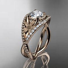 14kt  rose gold diamond floral  wedding ring,engagement ring ADLR88......