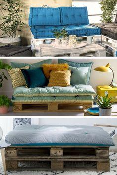 11 idées de meubles confortables à fabriquer avec des palettes, à recouvrir de coussins, pour le salon, la chambre, le jardin, le balcon, la terrasse,... Drawing Room Furniture, Palette Diy, Pallet Beds, Kid Beds, Sofa Ideas, Throw Pillows, Grandkids, Inspiration, Exterior