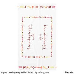 Happy Thanksgiving Table Cloth Fall Leaves Tablecloth