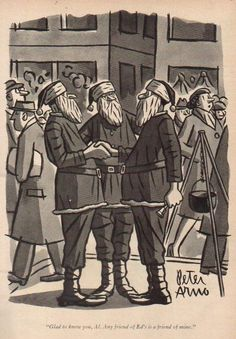 1955 Christmas Santa Bell Ringers Peter Arno 50s Art New Yorker Cartoon Comic