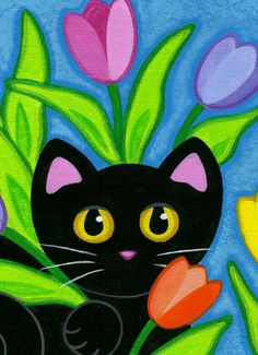 black art SPRING has SPRUNG in this colorful print! Miss Midnight is sitting pretty in the bright, bold tulips! This is a PRINT of my original Black Cat Art, Cat Quilt, Cat Drawing, Whimsical Art, Rock Art, Painted Rocks, Art For Kids, Art Projects, Original Paintings