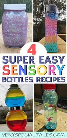 ) – Very Special Tales 7 DIY Sensory Bottles Recipes: Oil, Glitter Glue, Water Beads & Hand Wash (Super Easy! Sensory Bottles Preschool, Glitter Sensory Bottles, Glitter Jars, Sensory Toys, Sensory Activities, Glitter Calming Jar, Baby Sensory Bottles, Rainbow Sensory Bottles, Sensory Wall