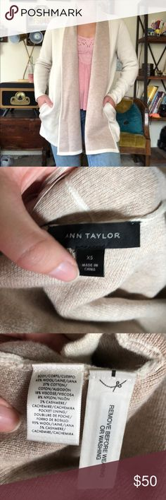 """Ann Taylor Wool Cashmere Shawl Coatigan Ann Taylor Wool and cashmere  Cream and tan  Cardigan coat Warm and beautiful  Luxurious and classic Perfect for a chilly spring or summer night, or just looking fabulous in your office.  Fits like a small  Bust pit to pit 20"""" Pit to hem length 21"""" Ann Taylor Sweaters Cardigans"""