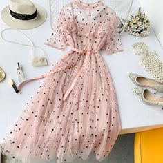 Lucuna Sheer Short-Sleeve Midi A-line Dress Stylish Dresses For Girls, Dresses For Teens, Simple Dresses, Elegant Dresses, Cute Casual Outfits, Pretty Outfits, Pretty Dresses, Beautiful Dresses, Girls Fashion Clothes