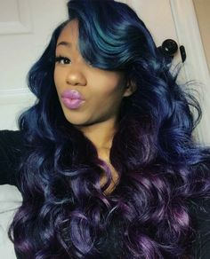 Blue and purple ombre hair. Baddie Hairstyles, Messy Hairstyles, Saree Hairstyles, Black Hairstyles, Protective Hairstyles, Curly Hair Styles, Natural Hair Styles, Hair Laid, Hair Shows