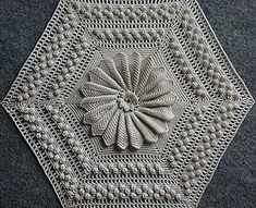 """Marguerite"" vintage crochet pattern ~ 3D flower round on hex base, for bedspread etc. ~ free pattern book download (pdf) 