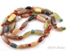 "Vintage Semi Precious Stone Polished Beaded Necklace 42"" Long"