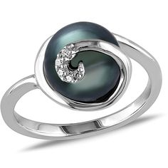 Miadora Sterling Silver Tahitian Pearl and Diamond Accent Cocktail... ($80) ❤ liked on Polyvore featuring jewelry, rings, black, evening jewelry, holiday jewelry, sterling silver jewelry sets, enhancer ring and statement rings