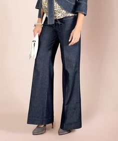 Look at this Elpasa Blue Linen-Blend Straight-Leg Malvina Maternity Jeans on #zulily today!