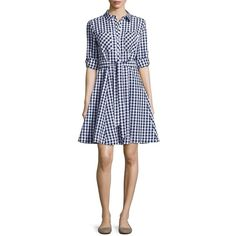 Imnyc Isaac Mizrahi Gingham A-Line Shirtdress ($97) ❤ liked on Polyvore featuring dresses, blue, long sleeve shirt dress, blue gingham dress, shirt dress, blue dress and long sleeve a line dress