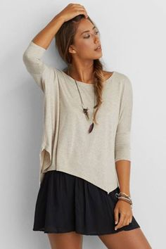 Don't Ask Why Boxy Long Sleeve T-Shirt by AEO   The newest collection to hit American Eagle Outfitters. Designed in one size to fuse the effortless street style of New York, L.A. and Milan with festival-inspired edge. The breezy pieces are perfect for mixing, matching and layering. Shop the Don't Ask Why Boxy Long Sleeve T-Shirt and check out more at AE.com.