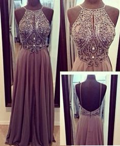 Grey Prom Dress,Beading Prom Dress,Halter Bridesmaid Dress,Prom Dress Backless,Evening Dress Beaded,Pleated Prom Dress