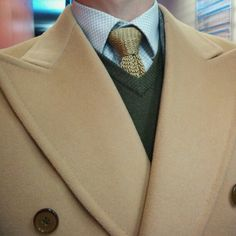 Camel coat with Boivin knitted tie