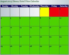 Dad's August Disney World Hotel Price Calendar