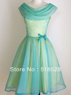 Yellow & blue Party dress A line 1950's 60's Prom Dresses Natural ...