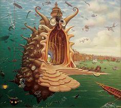 Port - Jacek Yerka   #Jacek #Yerka #art #painting #surrealism