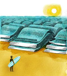 A bookworm's idea of a summer vacation. By Doug Salati.