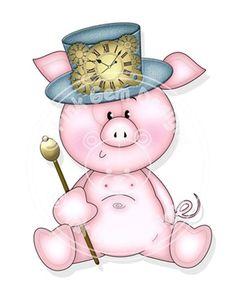 Digi Stamp Steampunk Pig Birthday Card Party by PinkGemDesigns