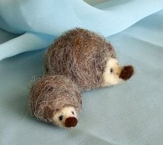 Needle Felted Hedgehogs  Waldorf Mama and Baby by gingerlittle, $14.00