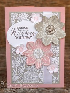 soft and pretty feminine card using Stampin Up Petal Potpourri & Petite Petals stamps & Something Borrowed suite. By Di Barnes #colourmehappy