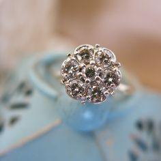 Vintage Antique 1950s Round Diamond Cluster Flower Solitaire Unique Engagement Ring 1.05ctw Size 7.5