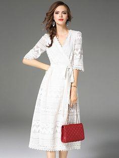 White V-neck Tie Waist Cut Out Detail Lace Midi Dress