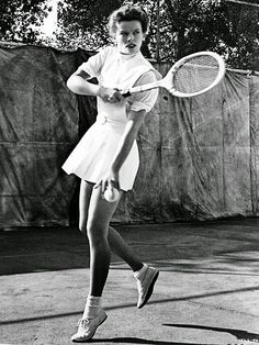 Hepburn playing tennis