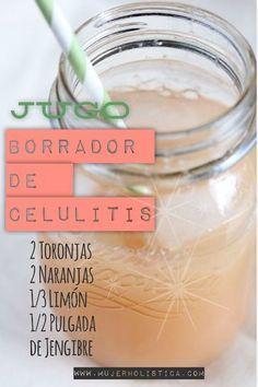 JUGO BORRADOR DE CELULITIS⁑ Combinar el jugo de 2 toronjas, 2 naranjas, 1/3 limón y 1/2 pulgada de jengibre