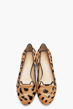 CHARLOTTE OLYMPIA Brown Spotted Calf-Hair Kitty Flats
