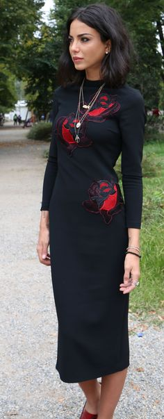 Chiara Biasi Rose Apllique L B D Fall Inspo #Fashionistas