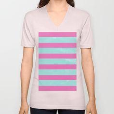Mint & Pink Stripes Design Unisex V-Neck