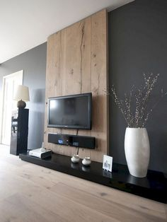 80 Comfy Minimalist Living Room Design Ideas - Page 16 of 82 Living Room Tv Wall, Living Room Tv, Wooden Wall Panels, Home And Living, Minimalist Living Room Design, Home Living Room, Interior, House Interior, Room Interior