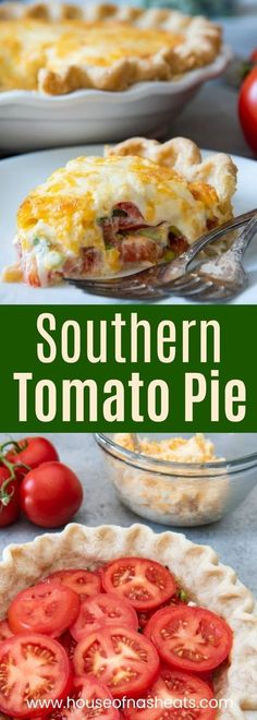 This savory Southern Tomato Pie is made with summer-ripe tomatoes, fresh basil leaves, and topped with a tasty cheese & mayo topping! I used heirloom cherry tomatoes and sweet onion. I also used cup or sour cream and a cup of mayo Side Dish Recipes, Vegetable Recipes, Vegetarian Recipes, Healthy Recipes, Healthy Food, Dishes Recipes, Recipes Dinner, Tomato Pie Recipes, Recipes With Fresh Tomatoes