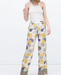 Pantalon large imprimé fleurs jaunes Zara - ClicknDress