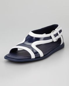 72224c1532b9 Runway Leather Contrast Sandal by Prada at Bergdorf Goodman. Designer Shoes  On Sale
