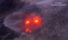 "Hawaii Volcano Captured Smiling During Eruption. Paradise Helicopters captured this adorable volcano's ""smile"" after the lava stream finally reached the coast."