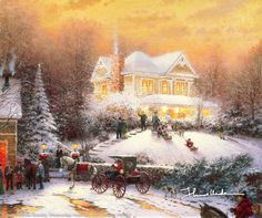 Victorian Christmas II by Thomas Kinkade    I'm inviting you to a Christmas party unlike any you've ever attended—because it takes place a hundred years ago! In my paintings, I love turning back the clock to a simpler era. That's what my Victorian Christmas II is all about; it brings my favorite holiday and a glorious historical period alive on canvas.  — Thomas Kinkade