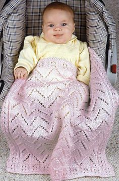 Free Knitting Pattern for Double Lace Car Seat Baby Blanket - A lace border frames the all-over zigzag lace of this easy baby blanket. Two sizes: 19 x 23 (38 x 48) inches / 48 x 58.6 (96 x 122) cm. Designed by Sue Childress