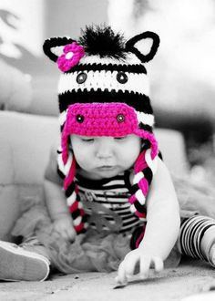 Crochet zebra hat made to order you can pick by Littleonescrochet, $30.00  That's a cute hat!