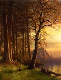Sunset in California Yosemite - Albert Bierstadt