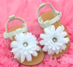 White Floral Kids Toddler Baby Girl Shoes Sandals 9 18 Months | eBay