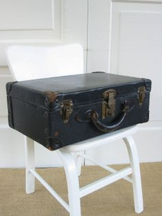 Vintage Black Suitcase Luggage Child Case by vintagejane on Etsy, $45.00