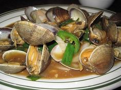 Ginger clams with green onions, Vietnamese food