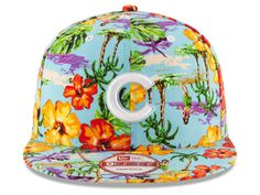 At Lids.com = check out the review.... then notice how the palm trees etc are upside down. Chicago Cubs New Era MLB Spring Time 9FIFTY Snapback Cap