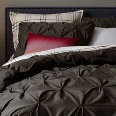 Organic Cotton Pintuck Duvet Cover + Shams - Slate | west elm. RICH MASCULINE AND SEXY PALATE