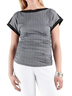 dots: Rouched Side Graphic Print Boat Neck Top ... $17.00