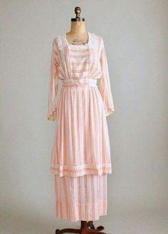 Peach striped cotton dress, c. 1910