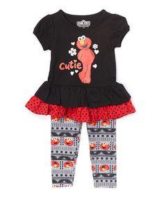 http://www.zulily.com/invite/rwittman784 Love this Black Elmo Tunic & Leggings - GIRLS Infant & Toddler on #zulily! #zulilyfinds