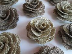 12 Burlap Flowers - Rustic Wedding Decoration, Craft Projects, Card Making, Home and Special Occasion Decoration. $21.00, via Etsy.