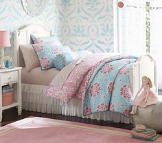 Madeline Bedroom Set with the Brooklyn Bedding in Blue/Pink. This is another bedding option.